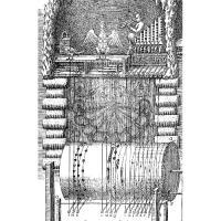 Nákres mechanických kukačkových hodin Salomona de Caus