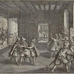 Druhá pražská defenestrace - 1618 - soudobá mědirytina od Johanna Philippa Abelina